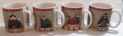 Set Of 4 Oneida Fiddlestix Stoneware Holiday Cats Cups / Mugs - China