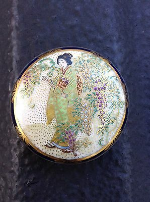 Antique Satsuma Buckle Hand Painted Fine Silver Back button