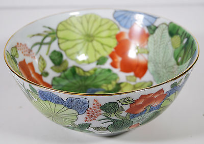"6"" Vintage Hand Painted Asian Japanese Porcelain Bowl Green Summer Flowers"