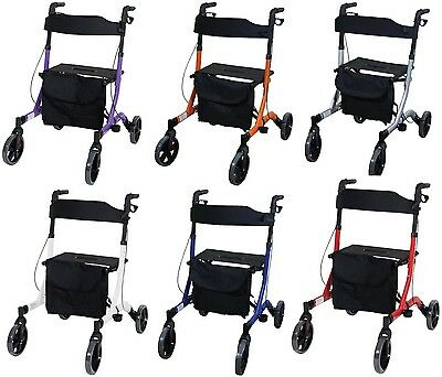 Aidapt Deluxe Ultra Lightweight Folding 4 Wheeled Rollator (Choose Colour)