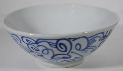 "6"" Vintage Hand Painted Asian Chinese Porcelain Bowl Traditional Blue Pattern"