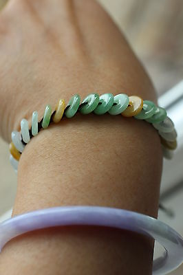 Gemstone Genuine natural jadeite jade string bracelet ping an grade A