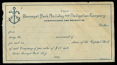 1889 Barnegat Park Railway and Navigation Company Stock Receipt - New Jersey