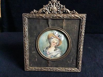 Antique Hand Painted French Miniature Portrait 18th Signed