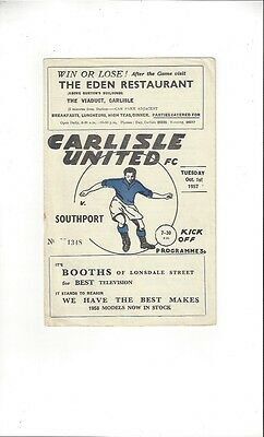 Carlisle United v Southport Football Programme 1957/58