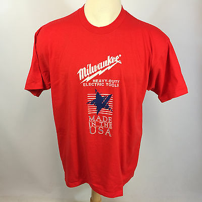 Vintage NOS New Milwaukee Electric Tools K Products Work Trucker T Shirt USA 90s