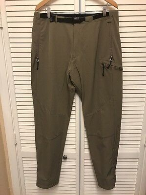 """REI Mens Nylon Outdoor Hiking Pants Size XL x 33"""" Inseam Brown Adjustable Ankle"""