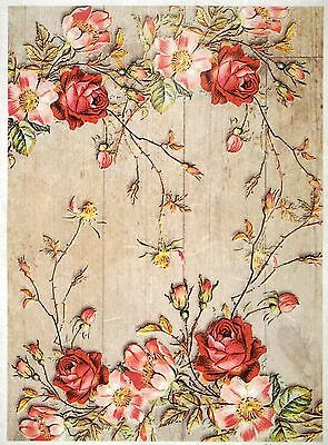 Rice paper -Similar roses on a wooden floor- for Decoupage Scrapbooking Sheets