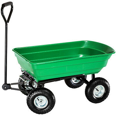 NEW Heavy Duty Green Garden Cart with Tipping Barrow Trolley - Garden - Home