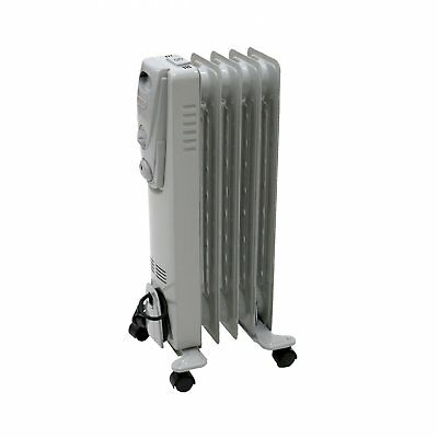 NEW! 1000W 5 Fin Portable Oil Filled Radiator Electric Heater