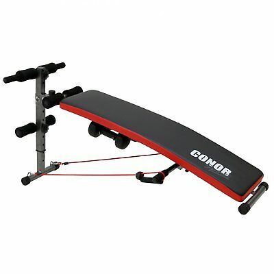 Conor Sports Folding Sit Up AB Bench Trainer - Push Bar Dumbbells & Power Ropes