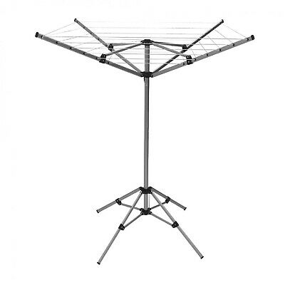 NEW 15m 4 Arm Lightweight Free Standing Aluminium Rotary Airer Portable Washing