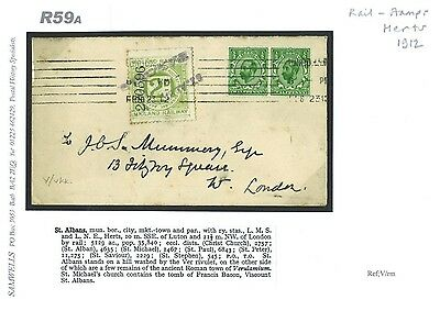 R59a 1912 GB RAILWAY LETTER *St Albans Station* Herts 2d RLS Downey Cover London