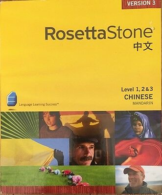 Rosetta Stone Chinese Mandarin V3 Level 1 2 & 3 Set 3 for PC Mac plus Audio CDs