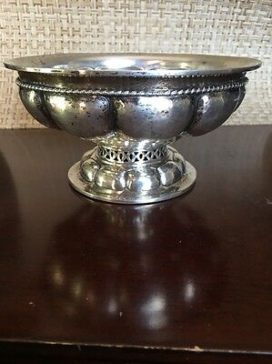 Antique Coin Silver Pedestal Bowl Hand Hammered