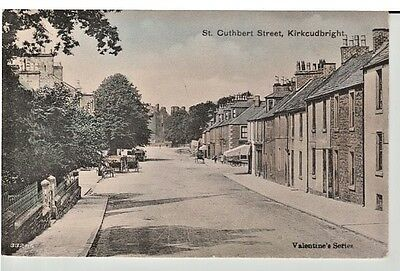1906 KIRKCUDBRIGHT St Cuthbert Street, shops, houses, horses & carriages, people