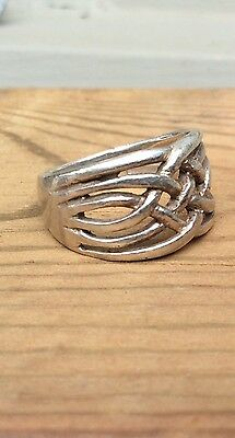 CELTIC TRINITY KNOT - Sterling 925 Ring Vintage Cigar Style 6 - 6 1/2 Size