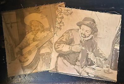 """2 Antique French Tapestry Panels 19"""" Sq For Projects c1900 Shabby Chic Fade"""