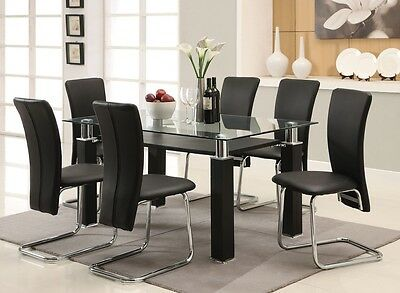 7Pc Riggan Modern Glass Top Black Chrome Metal Dining Table Set