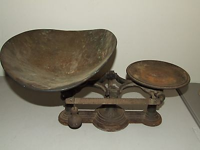 Antique 1877 Cast Iron Victorian #2 Balance Scale with Tin Mercantile Scale Pan