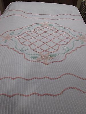 Vintage Chenille Bedspread 66 x 88 So Soft Crafting Material