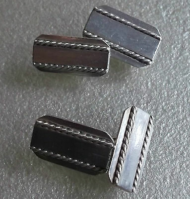 VINTAGE CUFFLINKS AGED SILVERTONE METAL TRADITIONAL 1960s 1970s RECTANGLE DESIGN