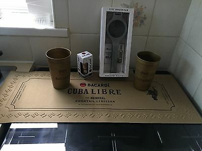 The Ultimate Bacardi Gift Set  Lime Squeezer Shot Measure  2 Gold Tin Cups &mat