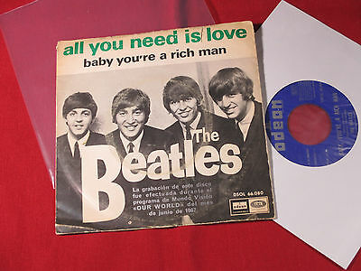 The Beatles  ALL YOU NEED IS LOVE / BABY YOU'RE A RICH MAN - 7'' Single Spain