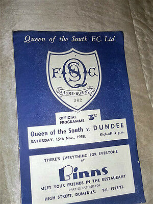 1958/9 Scottish League Queen Of The South V Dundee