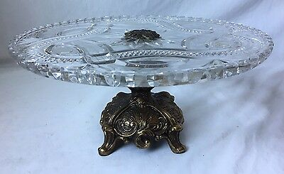 Vintage Crystal Glass Cake Stand Plate Gilt Base Footed Brass Metal Sawtooth Rim