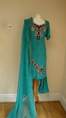blue crepe 12-14 bollywood punjabi Indian salwar kameez sari lengha SS13030