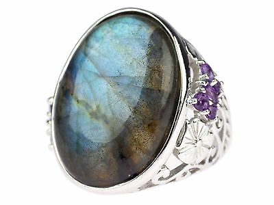 925 Sterling Silber Labradorit Amethyst Damen Ring