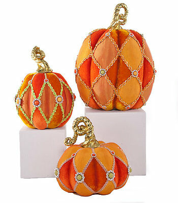 Katherine's Collection Set Of 3 Velvet Pumpkins NEW 28-628203