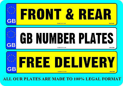 CAR NUMBER PLATES 1 x GB REAR REGISTRATION PLATE FREE POST FREE FIXINGS