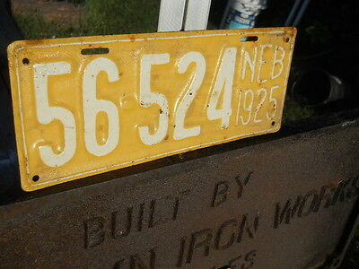 1925 Nebraska State Truck Car License Plate 56 524 Painted Touched Up Sandhills