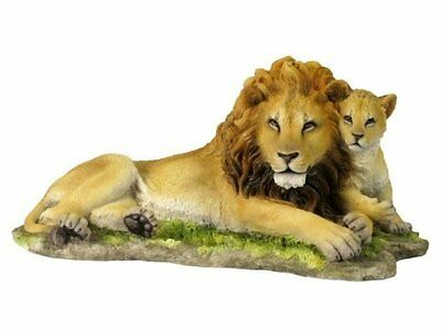13.75 Inch Lion and Cub Lying Down Statue Figurine Safari Wildlife Wild Animal