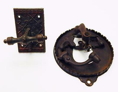 Antique Victorian Eastlake Sargent & Co. Brass Mechanical Doorbell Plate Parts