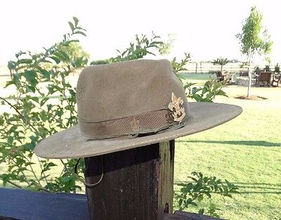 18508 Vintage Early Alexander BSA Scout Campaign Hat Size 6 7/8 Boy Scout Master