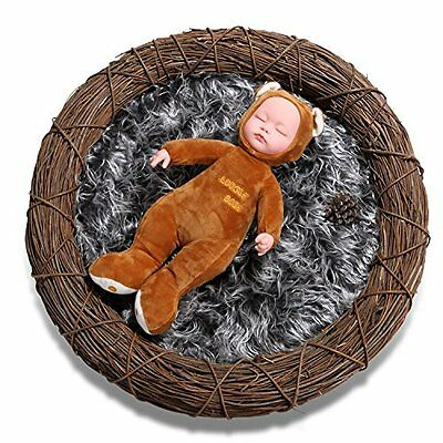 Sunmig Newborn Baby Photo Props Faux Fur Mat Rug Photography Background