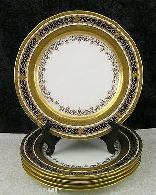 (5) Antique Coalport Z6593 Cobalt Blue & Gold Gilt Bone China Dinner Plates