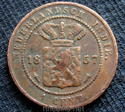 Indonesia Colonial Netherlands East Indies Willem Iii 1857 Cent, Copper