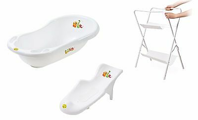 DINO Baby Newborn 3pc Bath Tub Set with Bath Support and Stand Drainage Plug