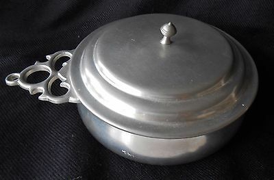 Vintage Royal Holland Kmd Daalderop Pewter Bowl With Lid And Handle