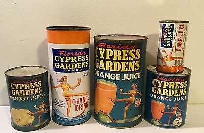 Antique Cypress Gardens Vintage Old Juice Can Collection Florida Tin Advertising