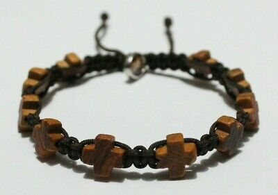 Cross Olive Wood Beads Bracelet on Brown Cord Ten Decade Rosary Handcrafted