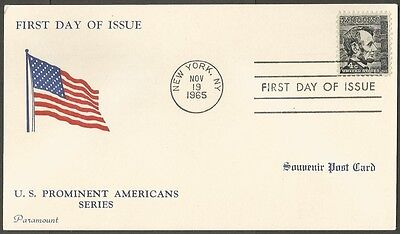 1965 U.s. Prominent Americans Series Lincoln 4C Stamp Souvenir Us Postal Card