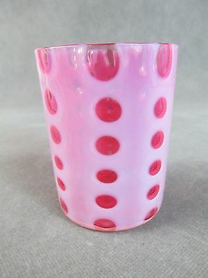 "c1890 Victorian Glass TUMBLER ""Polka Dot"" Crystal Opalescent w/Ruby"