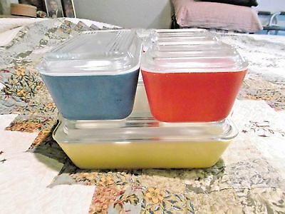 Vintage PYREX Primary Colors Refrigerator Dish Set 501 502 503 With Lids