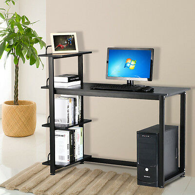 Computer Desk with 4-Tier Shelves PC Workstation Study Table Home Office Black