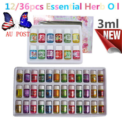 12/36PCS Pure Aromatherapy Essential Oils Spa Bath Massage Skin Care 3ML AU